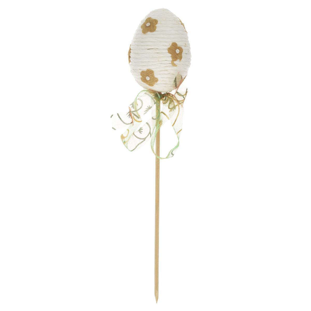 Декоративное украшение на ножке Home Queen Яйцо веселое, цвет: белый, высота 21 см60743_1Декоративное украшение Home Queen Яйцо веселое выполнено из пенопласта и бумаги в виде пасхального яйца на деревянной ножке, декорированного рельефными бумажными цветами. Изделие украшено полупрозрачной лентой.Такое украшение прекрасно дополнит подарок для друзей или близких на Пасху.Высота: 21 см. Размер яйца: 5 см х 5 см.