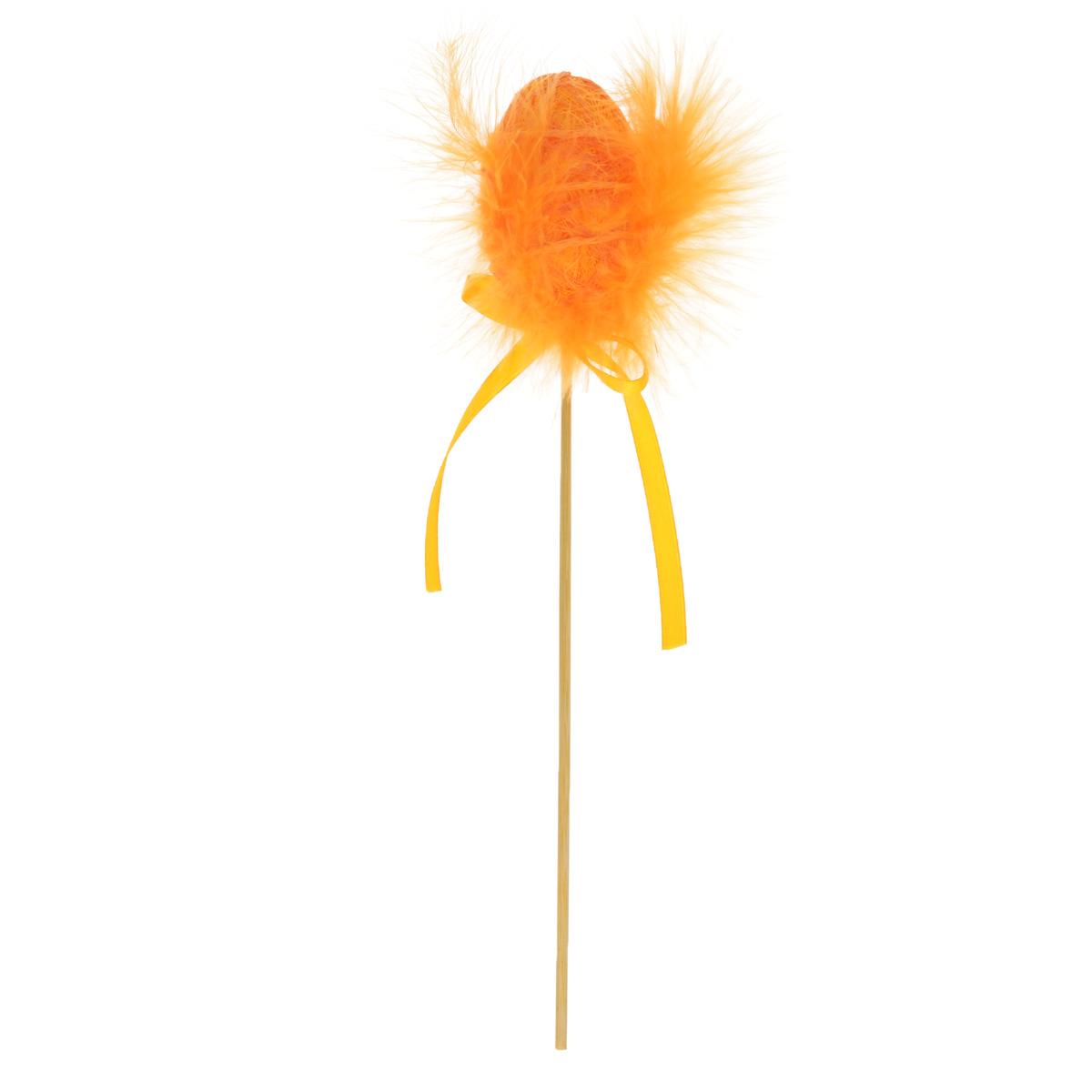 Декоративное пасхальное украшение на ножке Home Queen Яйцо с пухом. Разноцвет, цвет: оранжевый, высота 25 см подставка под яйца home queen цвет желтый оранжевый 2 ячейки