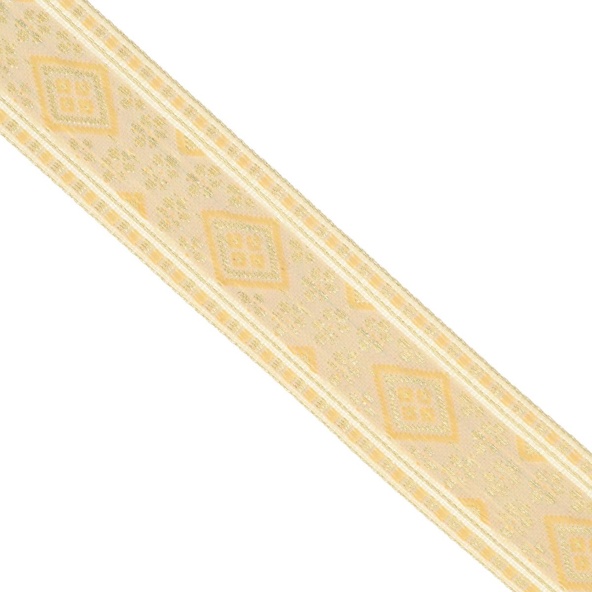 Тесьма декоративная Астра, цвет: слоновая кость (А32), ширина 2,5 см, длина 16,4 м. 77033297703329_А32Декоративная тесьма Астра выполнена из текстиля и оформлена оригинальным орнаментом. Такая тесьма идеально подойдет для оформления различных творческих работ таких, как скрапбукинг, аппликация, декор коробок и открыток и многое другое. Тесьма наивысшего качества и практична в использовании. Она станет незаменимым элементом в создании рукотворного шедевра. Ширина: 2,5 см.Длина: 16,4 м.
