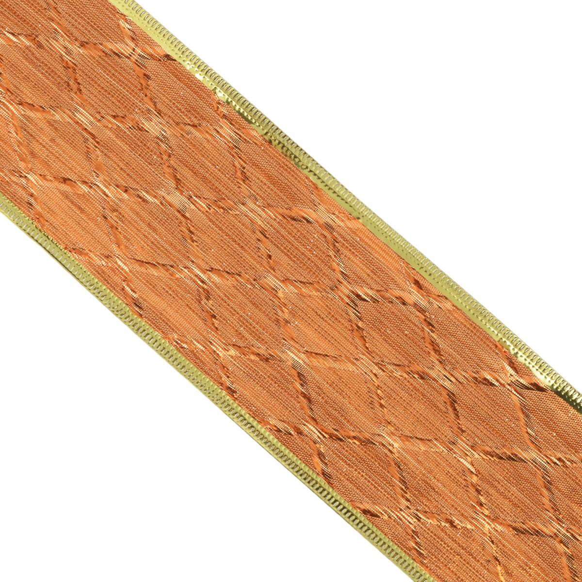 Декоративная лента Феникс-презент, цвет: бронзовый, 2,7 м. 3539035390Декоративная лента Феникс-презент выполнена из полиэстера и декорирована ромбовидным принтом. В края ленты вставлена проволока, благодаря чему ее легко фиксировать. Лента предназначена для оформления подарочных коробок, пакетов. Кроме того, декоративная лента с успехом применяется для художественного оформления витрин, праздничного оформления помещений, изготовления искусственных цветов. Декоративная лента украсит интерьер вашего дома к любым праздникам.Ширина ленты: 6,3 см.