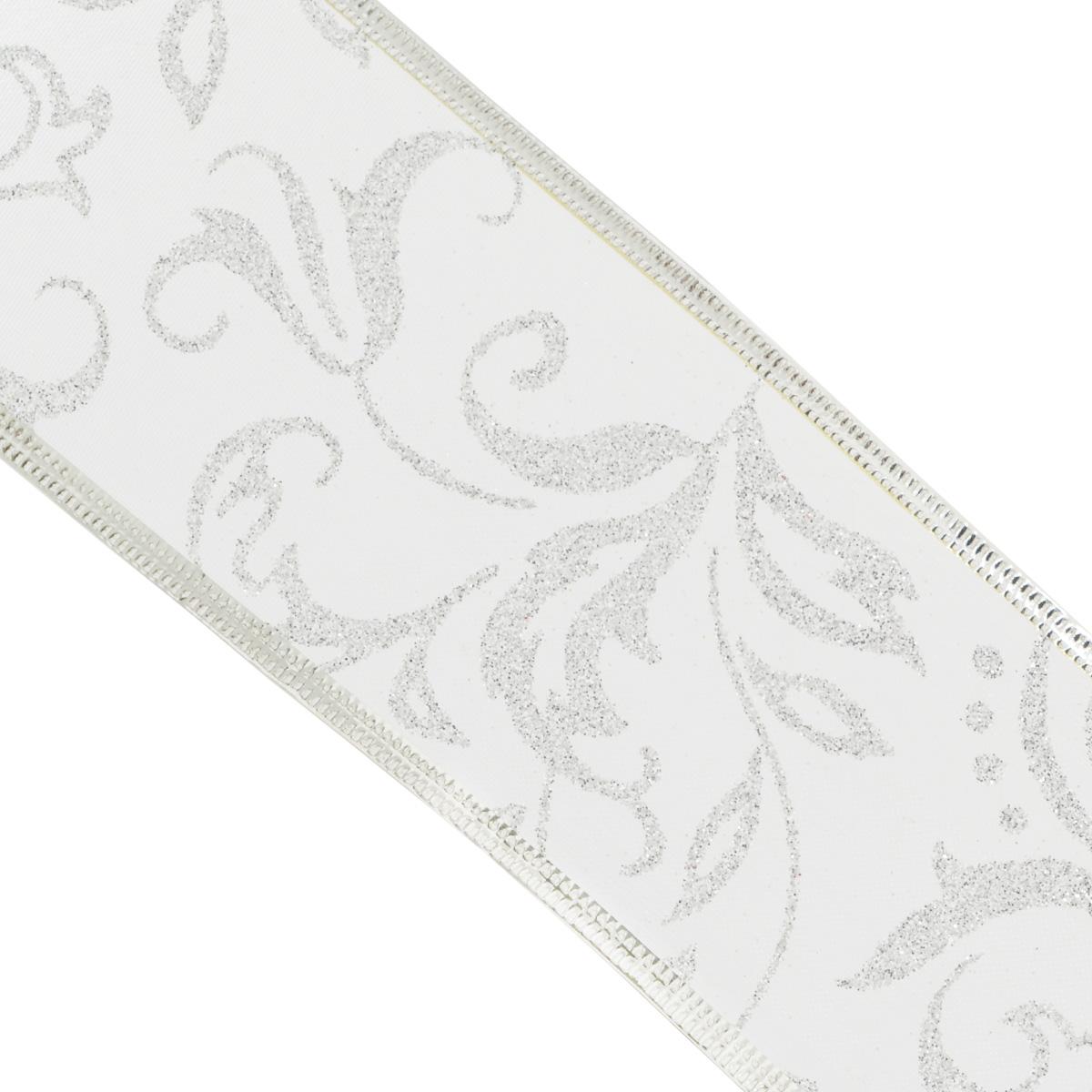 Декоративная лента Феникс-презент, цвет: серебристый, 2,7 м. 3539335393Декоративная лента Феникс-презент выполнена из полиэстера и декорирована оригинальным узором и блестками. В края ленты вставлена проволока, благодаря чему ее легко фиксировать. Лента предназначена для оформления подарочных коробок, пакетов. Кроме того, декоративная лента с успехом применяется для художественного оформления витрин, праздничного оформления помещений, изготовления искусственных цветов. Декоративная лента украсит интерьер вашего дома к любым праздникам.Ширина ленты: 6,3 см.