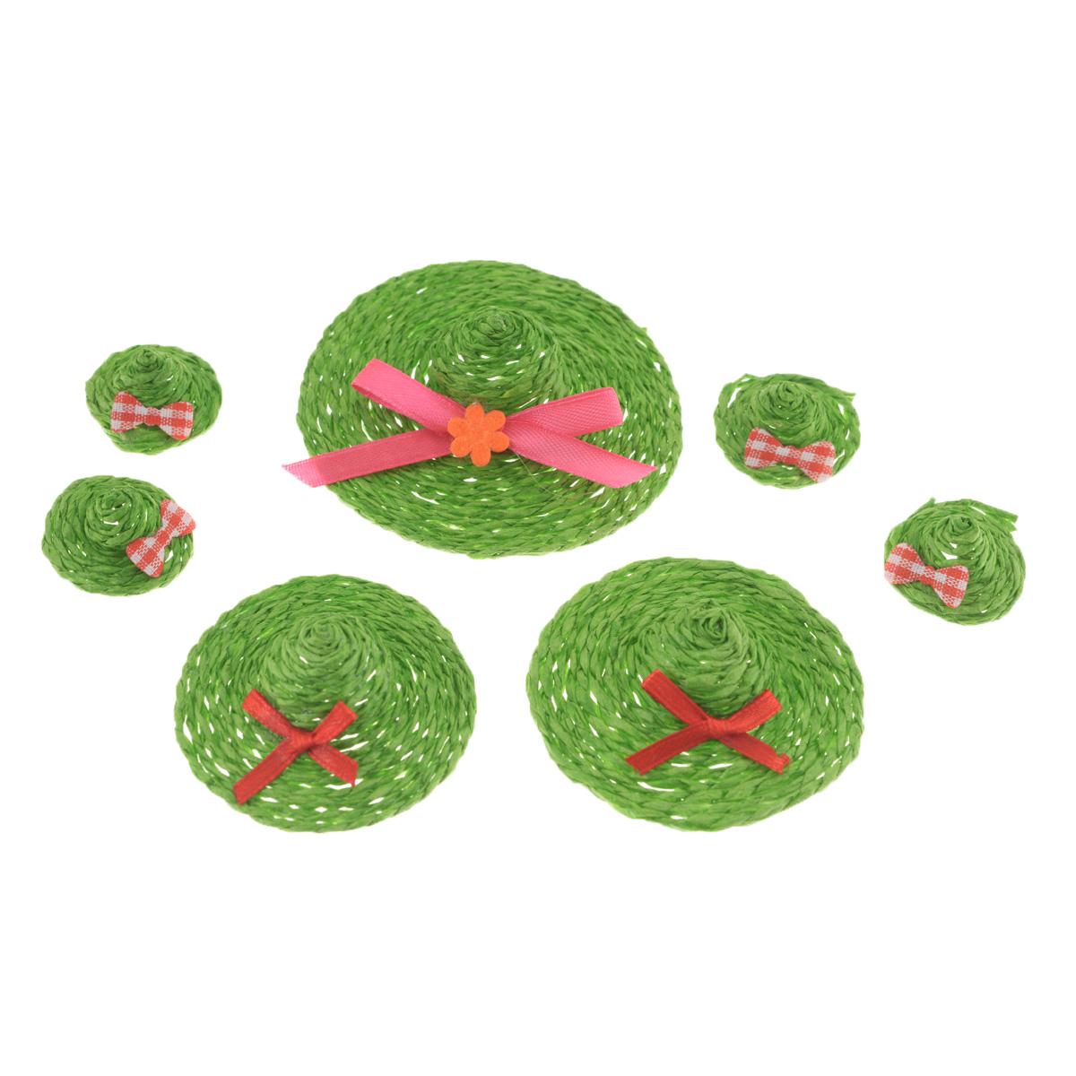 Набор декоративных украшений Home Queen Шляпки, на клейкой основе, цвет: зеленый, 7 шт66856_3Набор Home Queen Шляпки состоит из 7 декоративных элементов и предназначен для украшения яиц, посуды, стекла, керамики, металла, цветочных горшков, ваз и других предметов интерьера. Украшения изготовлены из полиэстера и бумаги в виде шляпок разного размера и фиксируются при помощи специальной клейкой основы. Такой набор украшений создаст атмосферу праздника в вашем доме. Размер большой фигурки: 7 см х 7 см х 2 см.Размер средней фигурки: 4,5 см х 4,5 см х 1,7 см.Размер маленькой фигурки: 2,5 см х 2,5 см х 1,5 см.