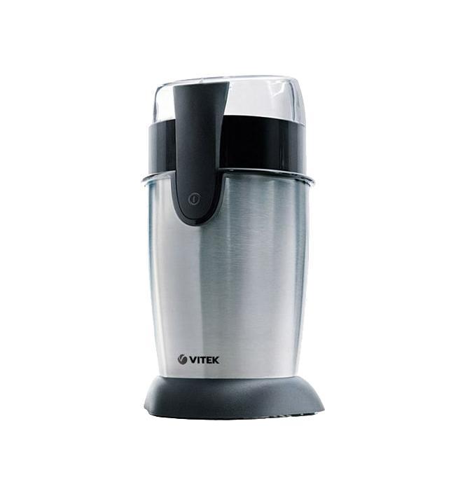 Vitek VT-1542, Silver1542-VT-01Если вам приходится часто молоть кофе для большой компании, то кофемолка VITEK VT-1542 SR легко сможет помочь вам в этом. Действительно, с ее помощью вы сможете за один раз качественно перемолоть до 70 грамм – это прекрасный показатель. Ротационный нож перемалывает зерна не только быстро, но и качественно, равномерно. Мощность данной модели – 130 ватт, что заметно сокращает время, необходимое для перемалывания кофе. Так как кофемолка VITEK VT-1542 SR снабжена устройством для намотки шнура, работать с нею станет комфортнее и легче – шнур больше не будет болтаться, и путаться под ногами.