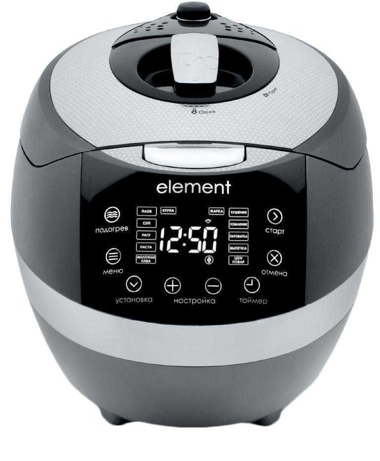 Element FWA01PB мультиваркаFWA01PBМультиварка Element ElChef FWA01PBElement ElChef FWA01PB - это современное многофункциональное устройство для автоматического приготовления всевозможных блюд. Необычный космический дизайн модели сделает прибор настоящей изюминкой вашей кухни. Благодаря варке под давлением на приготовление блюд потребуется минимум времени. Модель оборудована двухуровневой корзиной для варки на пару. Кроме того, в мультиварке можно варить, тушить и выпекать различные кулинарные изделия.Функция самоочистки для очистки прибора после использованияЧаша имеет девятислойную структуру с антипригарным покрытием. Голосовой помощник облегчает «общение» с прибором и поможет установить заданные настройки, эту функцию в любой момент можно отключить. Режим самоочистки значительно облегчает уход за прибором. 15 автоматических программ с возможностью изменения температуры и времени приготовления открывают перед вами широчайшие просторы для кулинарного творчества. Все зависит от вашей фантазии, а скучную рутинную работу возьмет на себя мультиварка Element ElChef FWA01PB.