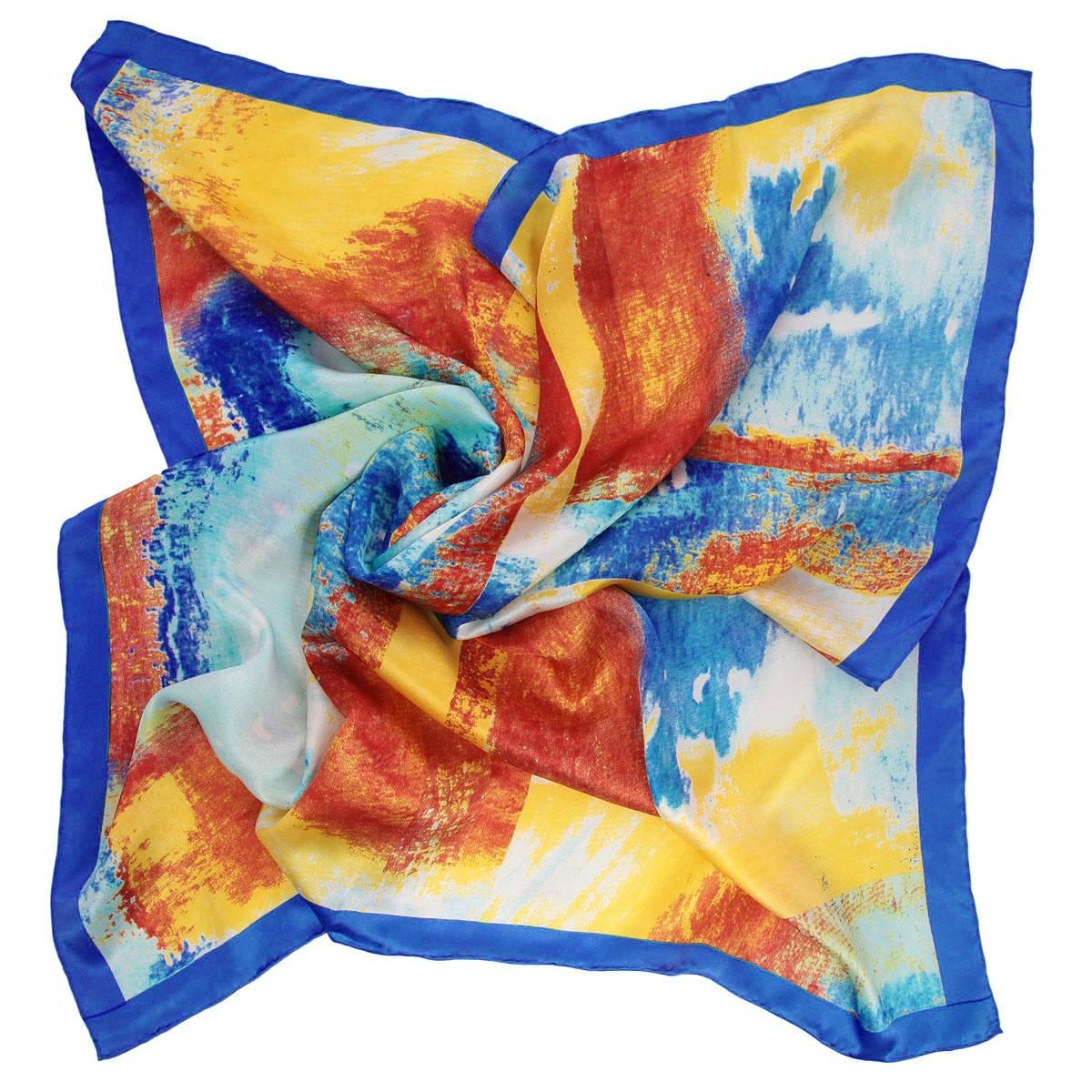Платок женский Venera, цвет: синий, оранжевый, желтый. 1801829-5. Размер 90 см х 90 см stylish jewel neck plaid faux twinset design long sleeve sweater for women