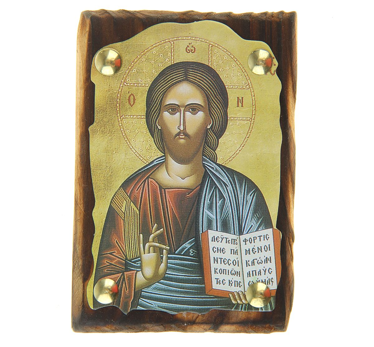 """Икона """"Иисус Христос"""" выполнена из картона, с нанесенным изображением, который крепиться на деревянную дощечку, обработанную огнем. На обратной стороне имеется отверстие, благодаря которому икону удобно вешать на стену. Изображенный образ полностью соответствует канонам Русской Православной Церкви. Такая икона будет прекрасным подарком с духовной составляющей."""