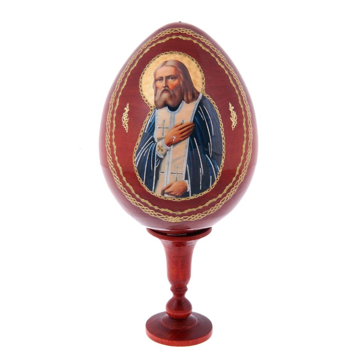 Яйцо декоративное Sima-land Серафим Саровский, на подставке, высота 21 см sima land антистрессовая игрушка заяц хрустик 05 цвет красный