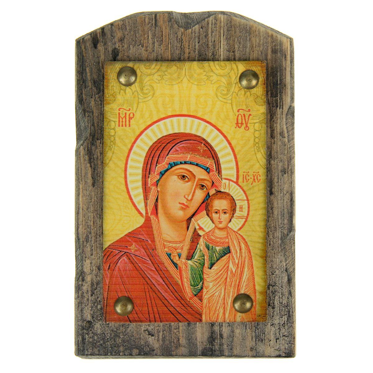 Икона на дереве Казанская икона Божией Матери, 9,5 см х 15 см икона qiwi