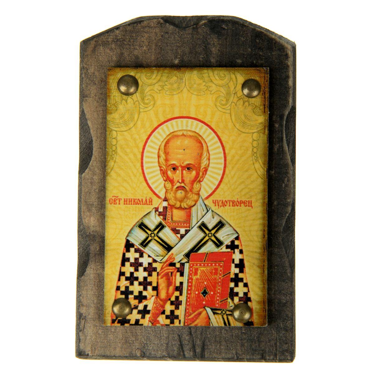 Икона на дереве Святой Николай Чудотворец, 9,5 х 15 см икона галерея благолепия икона святой николай чудотворец 3 юл 09