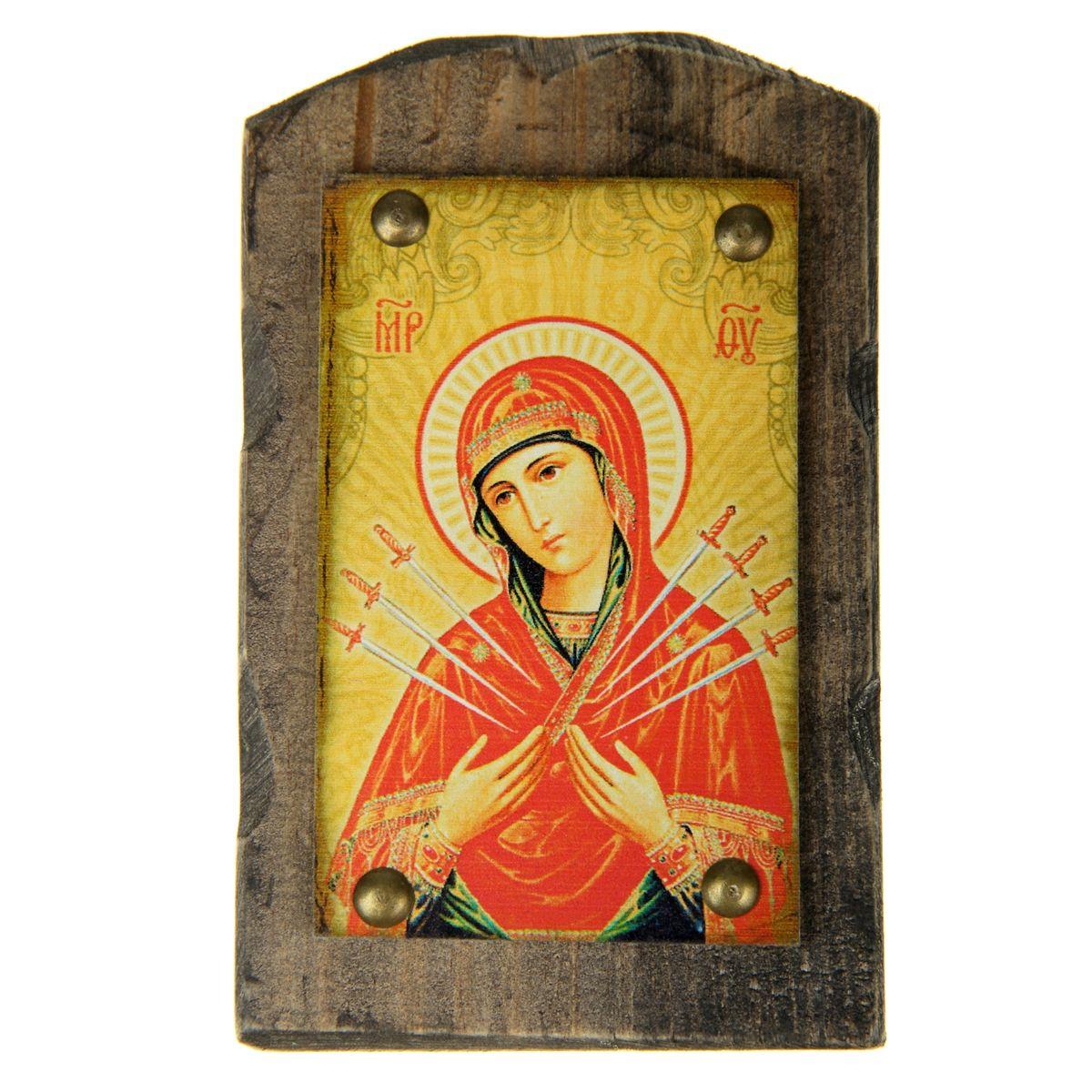 Икона на дереве Семистрельная икона Божией Матери, 9,5 х 15 см икона янтарная пресвятая богородица семистрельная