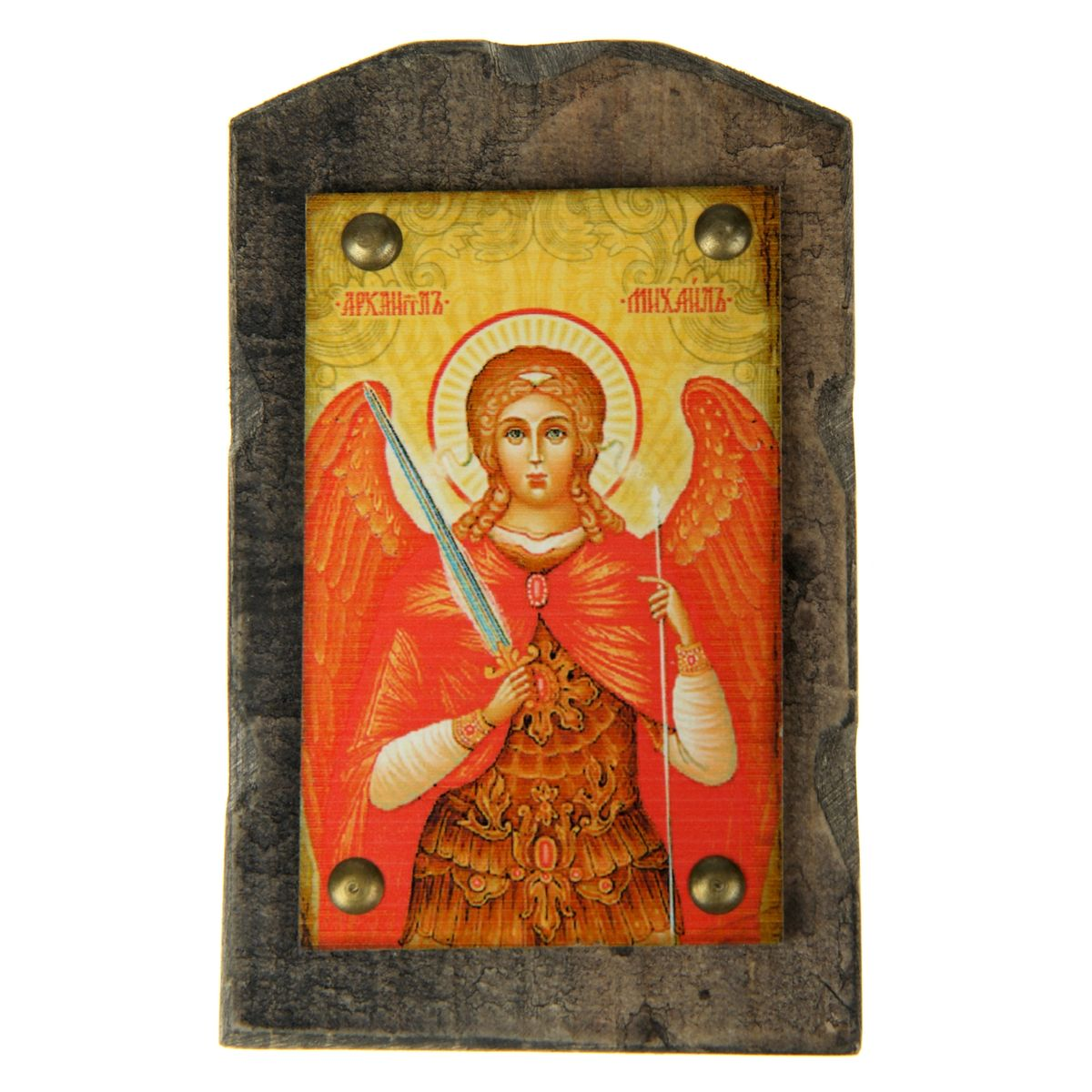 Икона на дереве Архангел Михаил, 9,5 см х 15 см икона янтарная богородица скоропослушница кян 2 305