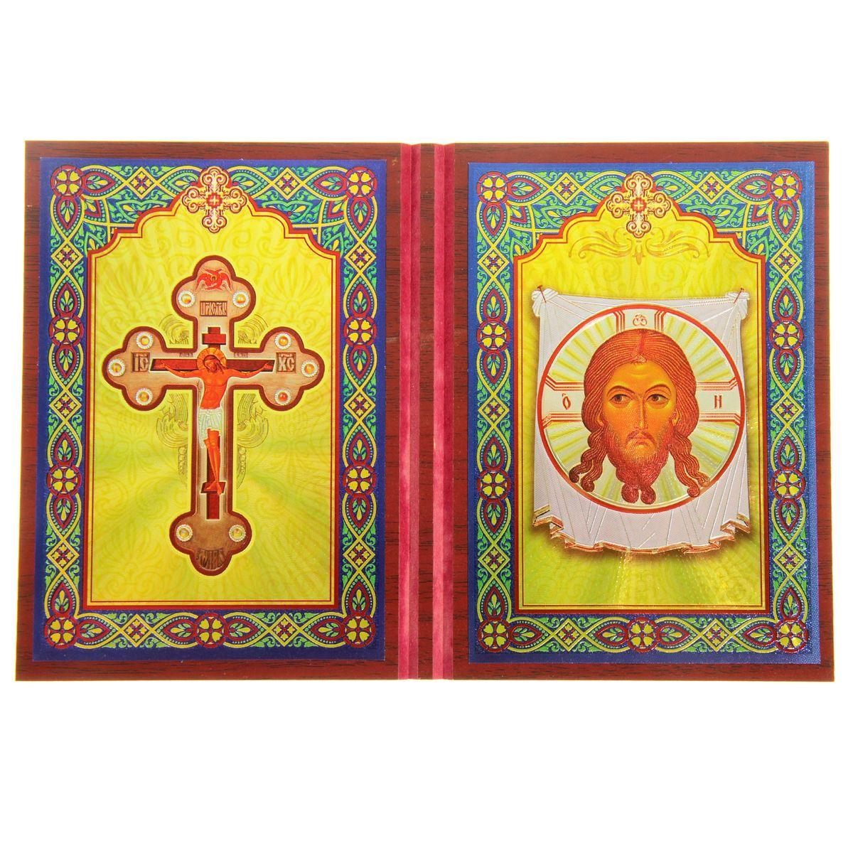 Складень-икона Sima-land Крест Господень - Спас Нерукотворный, 2 шт икона пресвятая богородица 10 5 см х 14 5 см