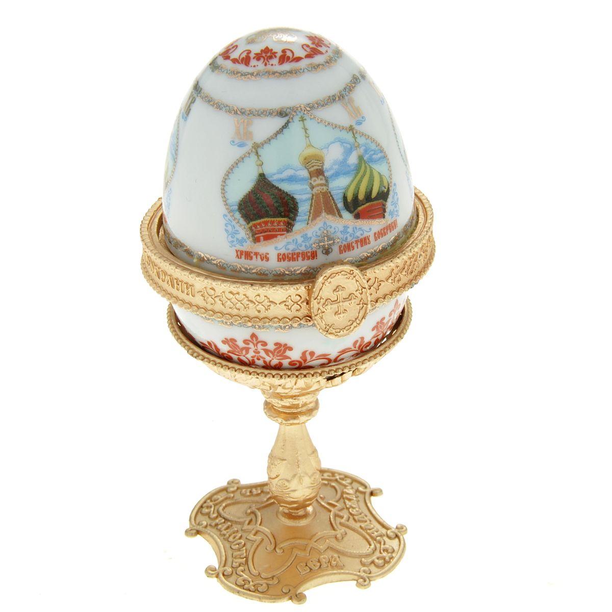 Яйцо-шкатулка Sima-land Купола, на подставке, высота 10 см сувенир пасхальный sima land яйцо горошек 4 х 4 х 6 см 6 шт