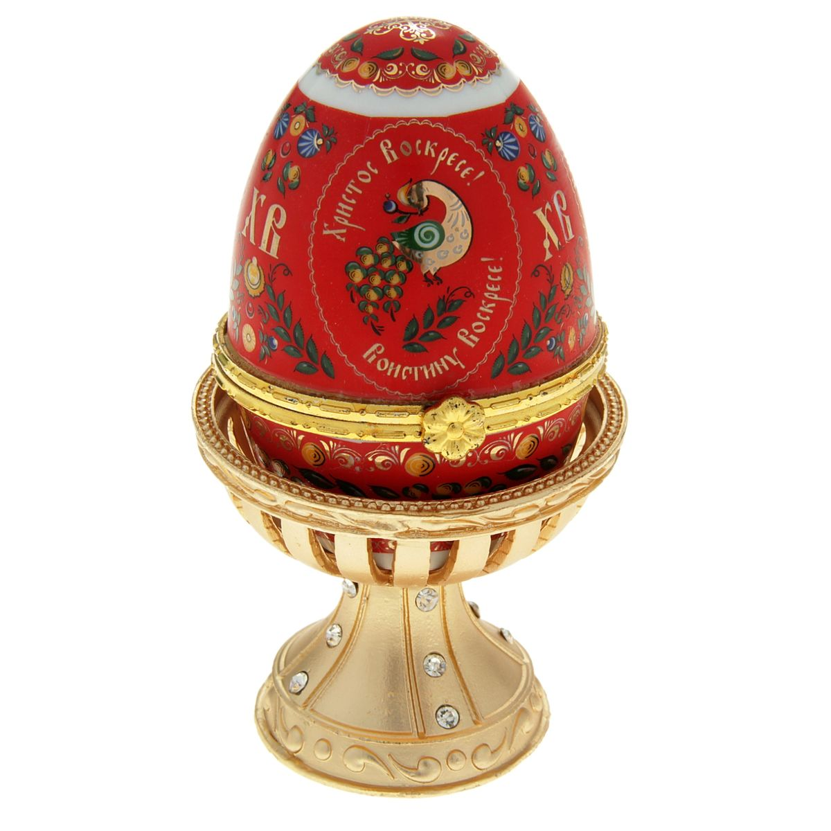 Яйцо-шкатулка Sima-land Хохлома, на подставке, высота 11 см яйцо декоративное sima land семистрельная на подставке высота 14 5 см