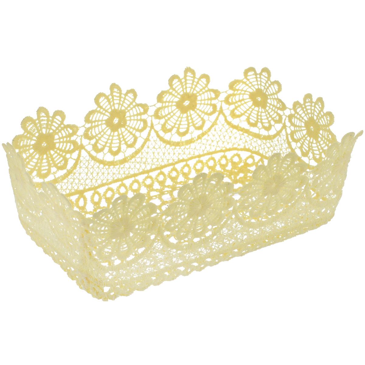 Корзина декоративная Home Queen Прямоугольная. Ромашки, цвет: кремовый, 21 х 13 х 8 см64339_1Декоративная корзина Home Queen Прямоугольная. Ромашки, выполненная из полиэстера, предназначена для хранения различных мелочей и аксессуаров. Изделие имеет красивую перфорацию по всей поверхности и ажурные края.Такая корзина станет оригинальным и необычным подарком или украшением интерьера. Размер корзины: 21 х 13 х 8 см.Размер дна: 18 х 10,5 см.