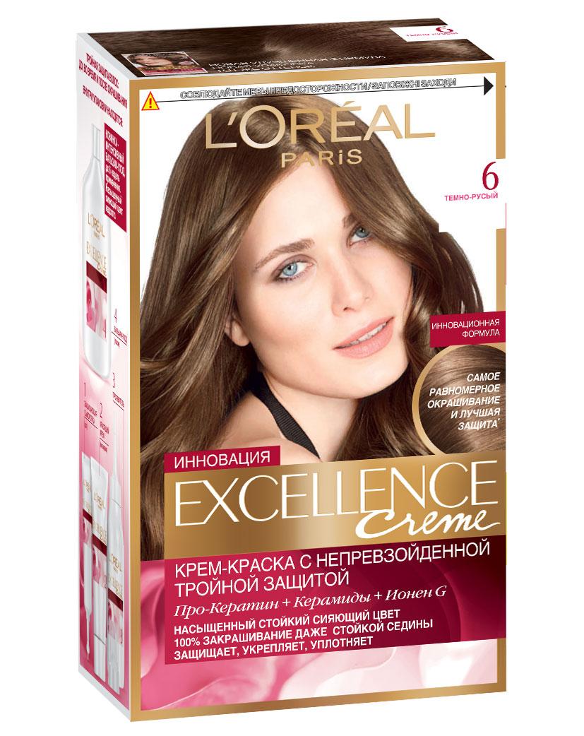 LOreal Paris Стойкая крем-краска для волос Excellence, оттенок 6, Темно-русыйA7770128Крем-краска для волос Экселанс защищает волосы до, во время и после окрашивания. Уникальная формула краскииз Керамида, Про-Кератина и активного компонента Ионена G, которые обеспечивают 100%-ное окрашивание седины и способствуют длительному сохранению интенсивности цвета. Сыворотка, входящая в состав краски, оказывает лечебное действие, восстанавливая поврежденные волосы, а густая кремовая текстура краски обволакивает каждый волос, насыщая его интенсивным цветом. Специальный бальзам-уход делает волосы плотнее, укрепляет их, восстанавливая естественную эластичность и силу волос.В состав упаковки входит: защищающая сыворотка (12 мл), флакон-аппликатор с проявителем (72 мл), тюбик с красящим кремом (48 мл), флакон с бальзамом-уходом (60 мл), аппликатор-расческа, инструкция, пара перчаток.1. Укрепляет волосы 2. Защищает их 3. Придает волосам упругость 3. Насыщеннный стойкий сияющий цвет 4. Закрашивает до 100% седых волос