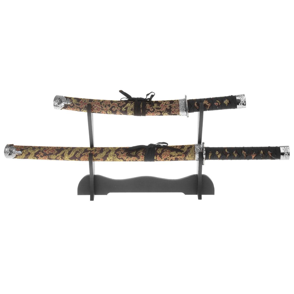 Сувенирное оружие Sima-land Катана, на подставке, цвет: черный, 2 шт. 272084 свеча ароматизированная sima land лимон на подставке высота 6 см
