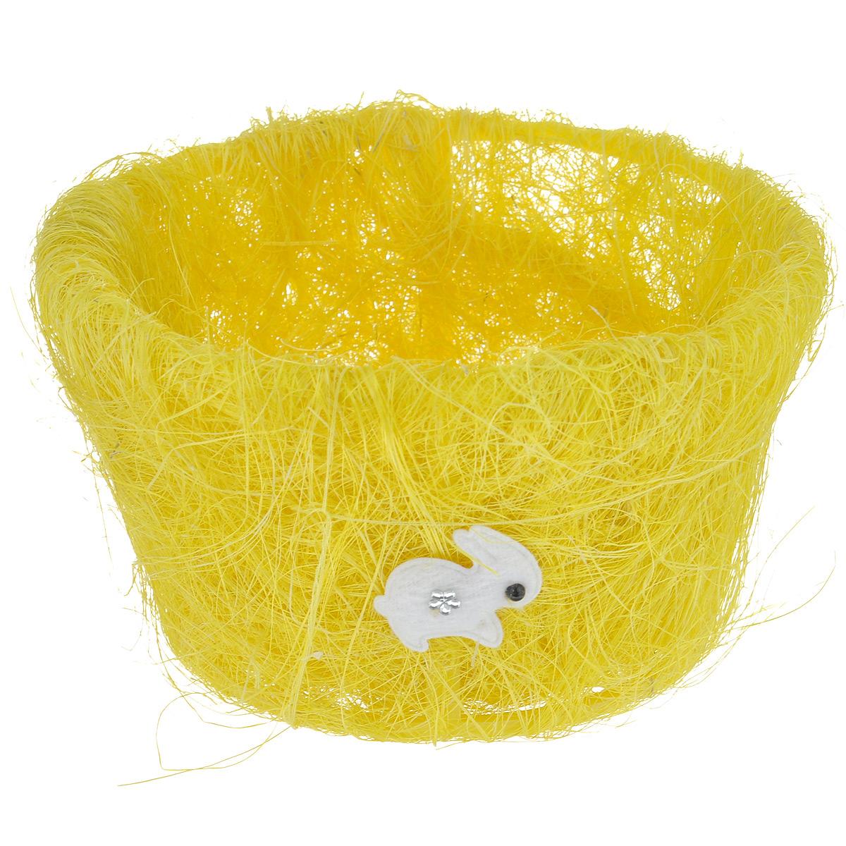 Корзина декоративная Home Queen Полевые цветы, цвет: желтый, 15,5 х 9 см66819_1Декоративная корзина Home Queen Полевые цветы предназначена для хранения различных мелочей и аксессуаров. Изделие имеет пластиковый каркас, обтянутый нитями из полиэстера. Корзина украшена фигуркой зайца со стразами.Такая корзина станет оригинальным и необычным подарком или украшением интерьера. Размер корзины: 15,5 см х 15,5 см х 9 см.Диаметр дна: 11 см.