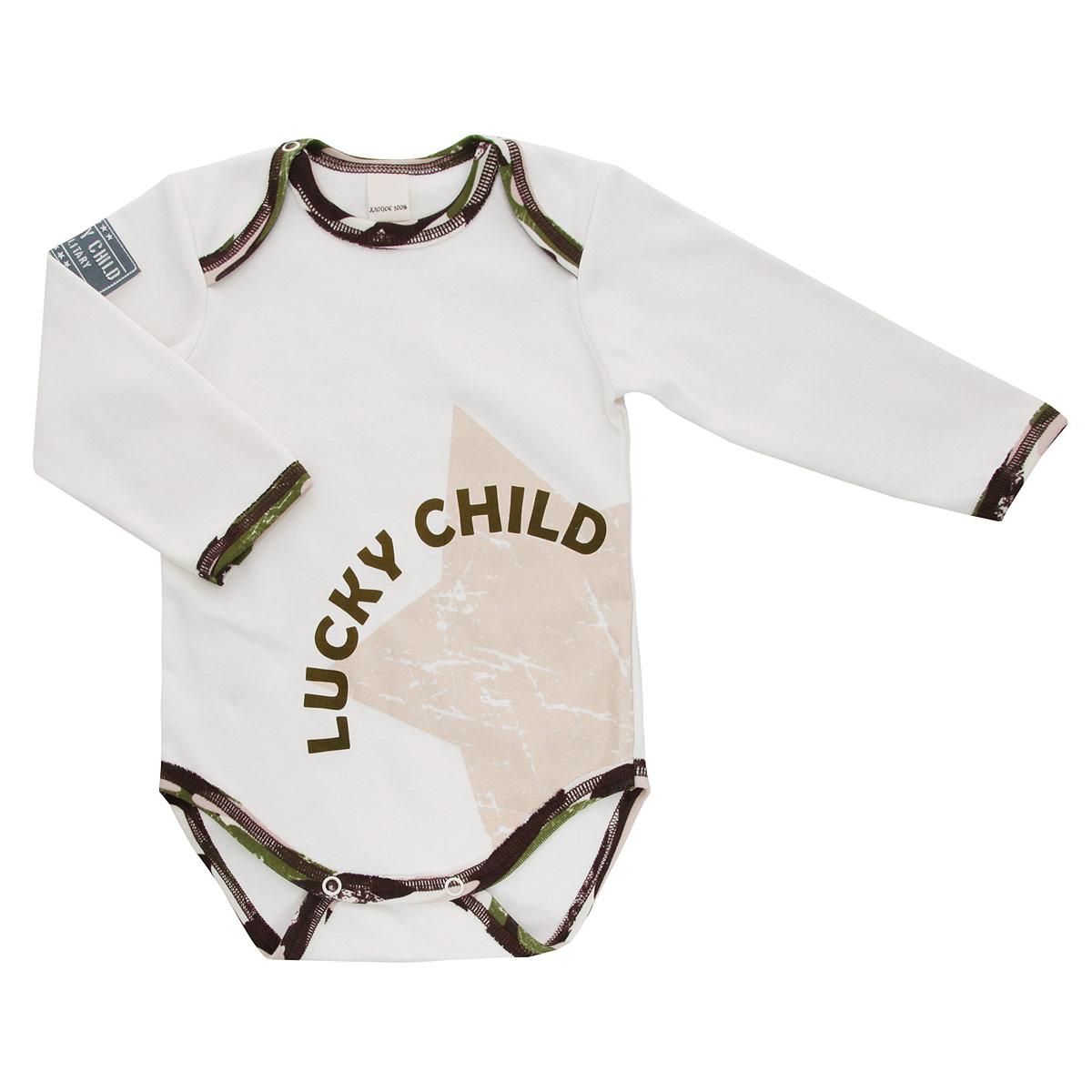 Боди для мальчика Lucky Child Вежливые люди, цвет: светло-бежевый, темно-коричневый, зеленый. 31-19. Размер 80/86 lucky child оливковый вежливые люди