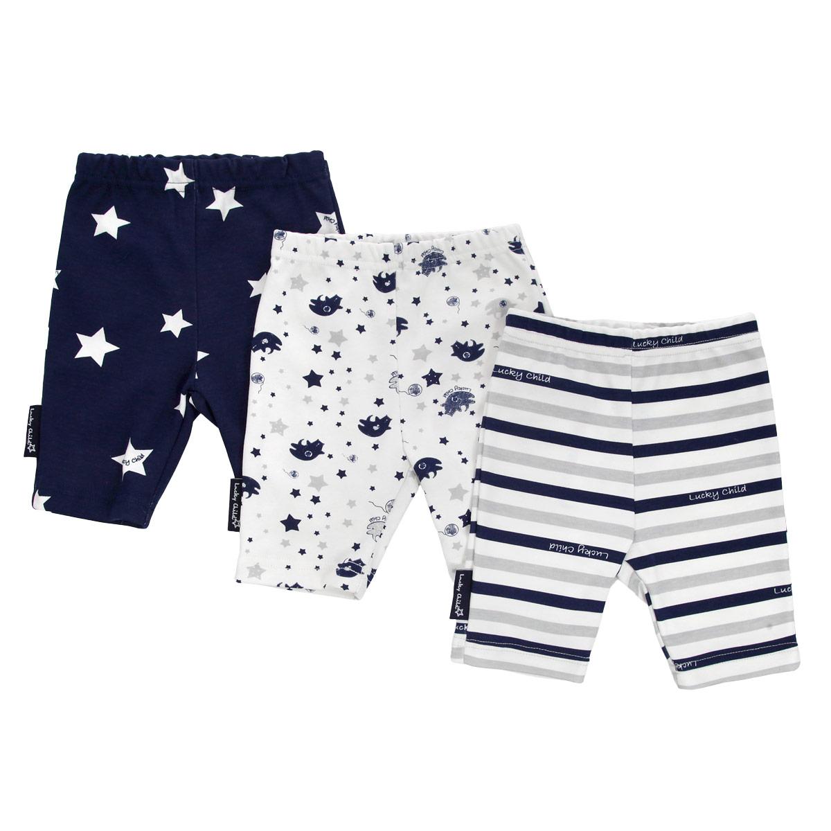 Шорты детские Lucky Child Котики, цвет: синий, белый, серый, 3 шт. 30-160. Размер 92/98