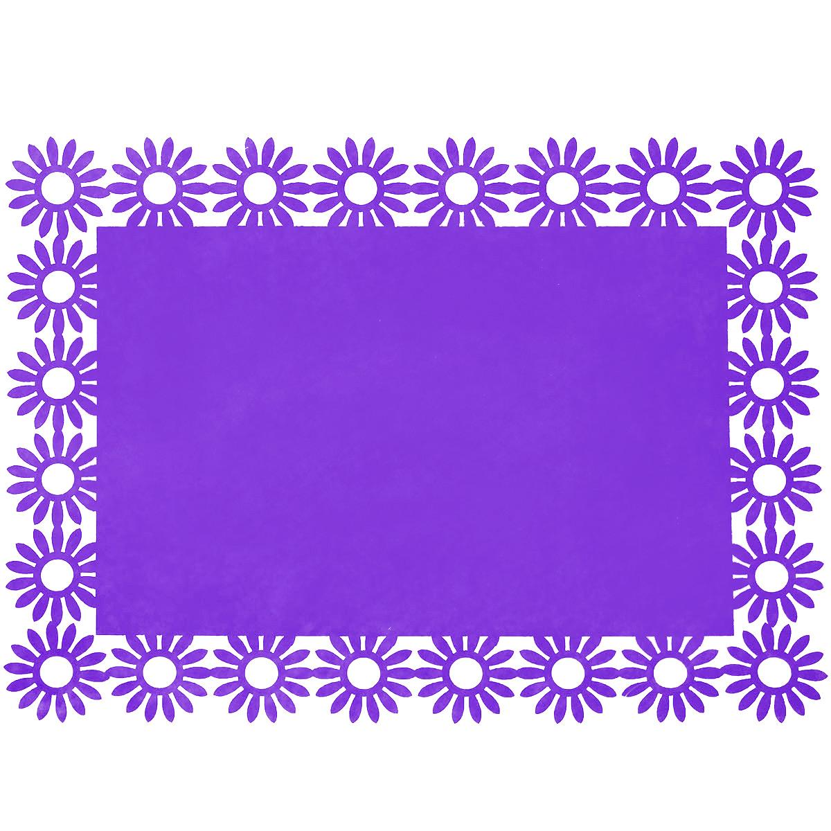Салфетка Home Queen Веселый праздник, цвет: фиолетовый, 30 см х 40 см х 0,2 см66843_2Прямоугольная салфетка Home Queen Веселый праздник выполнена из фетра и имеет красивую перфорацию по краям.Вы можете использовать салфетку для декорирования стола, комода, журнального столика. В любом случае она добавит в ваш дом стиля, изысканности и неповторимости и убережет мебель от царапин и потертостей. Размер салфетки: 30 см х 40 см х 0,2 см.