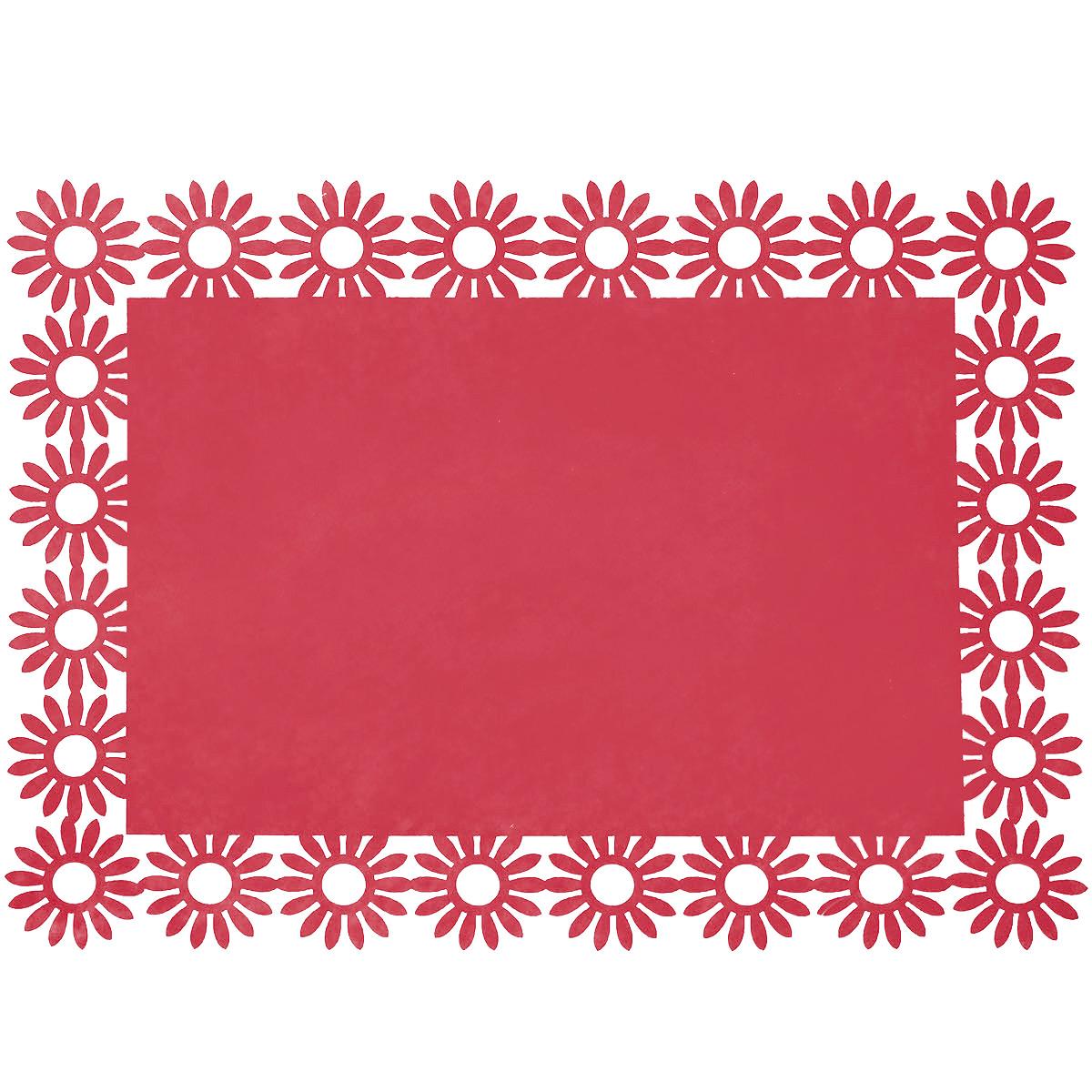 Салфетка Home Queen Веселый праздник, цвет: красный, 30 х 40 см66843_1Прямоугольная салфетка Home Queen Веселый праздник выполнена из фетра и имеет красивую перфорацию по краям.Вы можете использовать салфетку для декорирования стола, комода, журнального столика. В любом случае она добавит в ваш дом стиля, изысканности и неповторимости и убережет мебель от царапин и потертостей. Размер салфетки: 30 см х 40 см х 0,2 см.