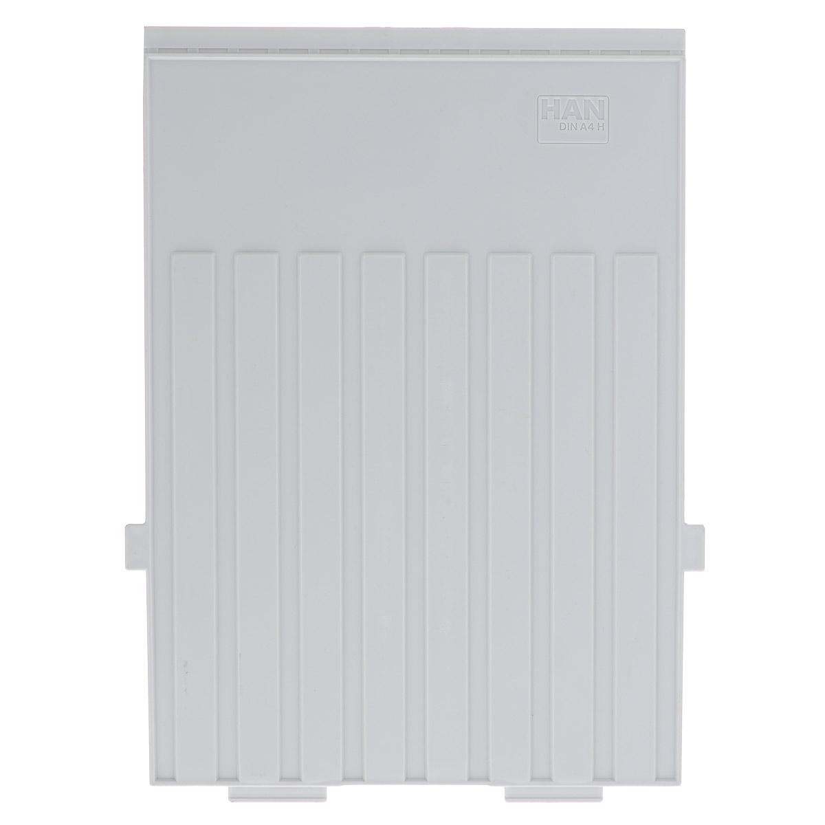 Разделитель для вертикальной картотеки Han, цвет: серый. Формат А4HA9024-1/11Разделитель для картотеки Han изготовлен из пластика серого цвета. Предназначен для вертикальных картотек HAN. Имеется специальное поле для установки индексного окна (сверху).