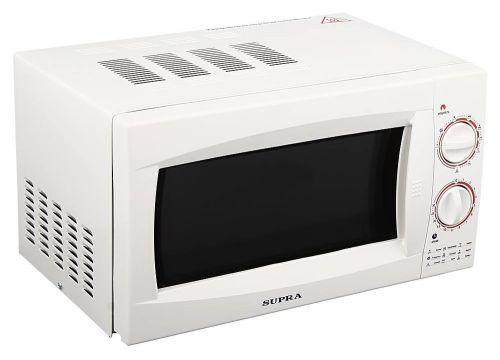 Supra MW-G2101MW СВЧ-печьMW-G2101MWСтрогий классический дизайн микроволновой печи с грилем Supra MWG-2101MW позволит ей органично влиться в общий дизайн вашей кухниОтдельно стоящая микроволновая печь; объем 21 л; мощность 800 Вт; гриль; механическое управление; поворотные переключатели