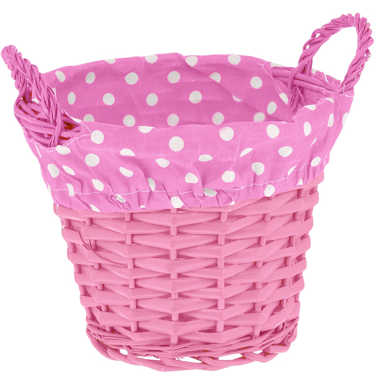 Корзинка Home Queen Домашняя, цвет: розовый, 20 х 15 см66837_6Круглая корзинка Home Queen Домашняя предназначена для хранения различных мелочей и сервировки стола. Изделие выполнено из плетеных прутьев ивы, внутренняя поверхность обтянута подкладкой из полиэстера с принтом в мелкий горошек. Корзинка оснащена двумя плетеными ручками. Имеет жесткую форму, прекрасно подходит для хранения и переноски пищевых продуктов. Такая оригинальная корзинка станет ярким украшением стола. Идеальный вариант для хранения пасхальных яиц, куличей или хлеба. Текстильная подкладка легко снимается. Диаметр корзинки: 20 см. Высота корзинки: 15 см. Высота ручек: 5 см.