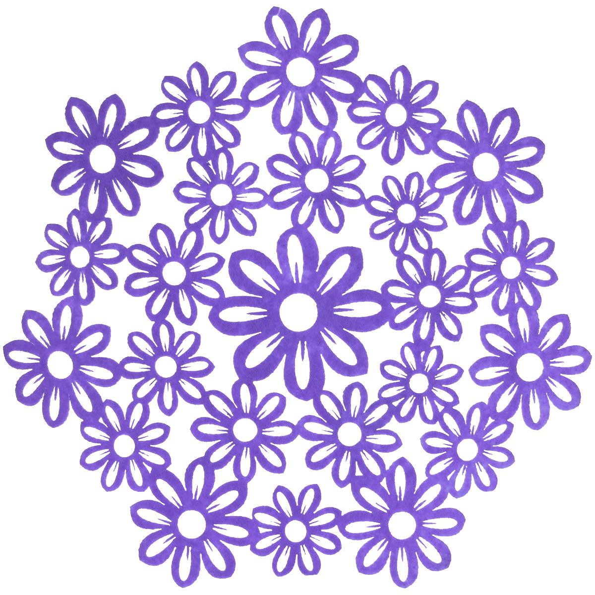 Салфетка Home Queen Незабудки, цвет: фиолетовый, диаметр 28 см66840_4Круглая салфетка Home Queen Незабудки выполнена из фетра и оснащена красивойперфорацией в виде цветов.Вы можете использовать салфетку для декорирования стола, комода, журнального столика.В любом случае она добавит в ваш дом стиля, изысканности и неповторимости и убережетмебель от царапин и потертостей.Диаметр салфетки: 28 см.