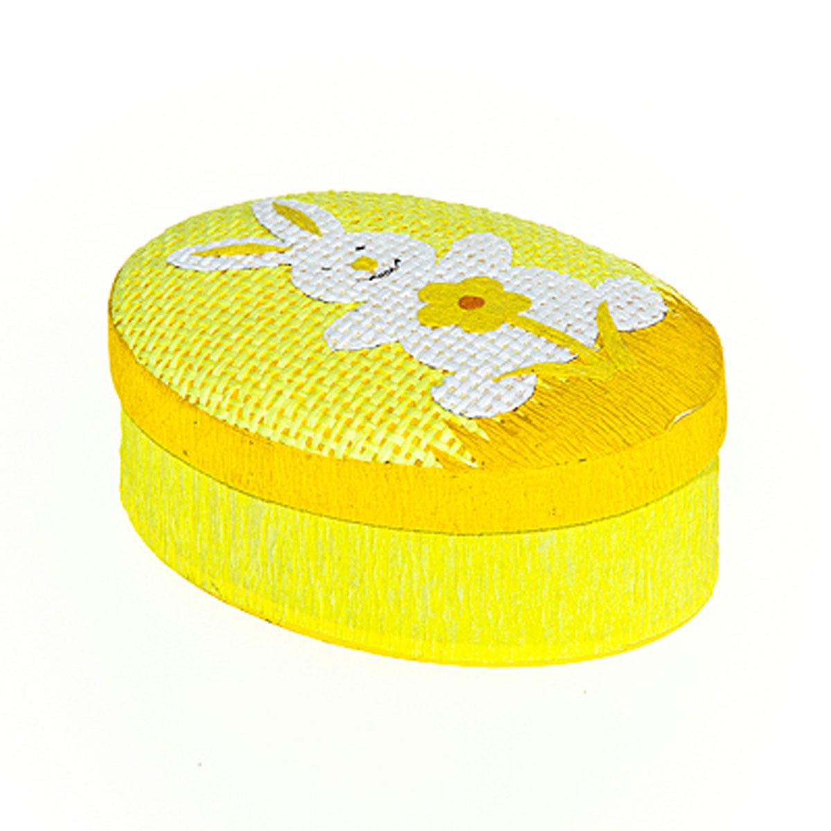 Шкатулка декоративная Home Queen Кролик с цветочком, цвет: желтый, 10,5 см х 8 см х 4 см64309_2Овальная шкатулка Home Queen Кролик с цветочком изготовлена из бумаги. Крышка изделия украшена рельефным рисунком в виде кролика и цветка. Изящная шкатулка прекрасно подойдет для упаковки пасхального подарка для детей и взрослых, а также красиво украсит интерьер комнаты. Размер: 10,5 см х 8 см х 4 см.