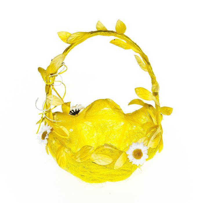 Корзина декоративная Home Queen Ромашки, цвет: желтый, 15,5 х 15,5 х 20 см мочалка из нейлона home queen цвет желтый 57199