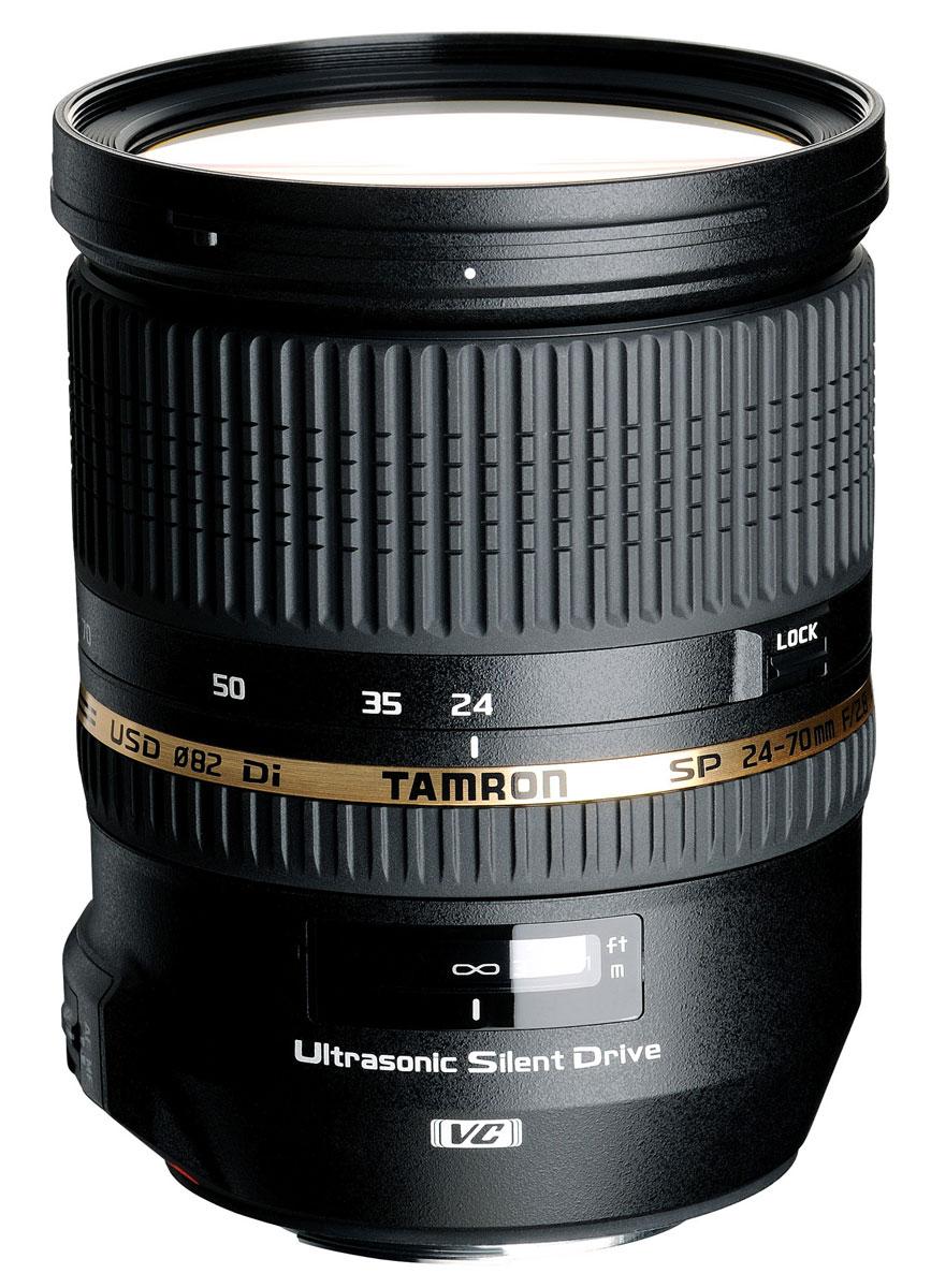 Tamron SP 24-70mm f/2.8 Di VC USD, Canon объективA007EВоплощая в своем конструктивном решении улучшенные рабочие характеристики и высокое качество изображений, высокоскоростной зум-объектив Tamron SP 24-70mm f/2.8 Di VC USD предлагает диапазон фокусных расстояний от 24 мм до 70 мм дополнительно к эксклюзивной системе компенсации вибраций VC компании Tamron и ультразвуковому бесшумному электроприводу USD, предназначенному для быстрого и бесшумного автофокусирования.Поскольку данный объектив относится к линейке SP (Превосходные характеристики), оптическая конструкция назначает самый высокий приоритет качеству изображений благодаря широкому использованию специальной оптики, включающей в себя три линзы с низким коэффициентом дисперсии LD и две линзы XR из стекла со сверхвысоким коэффициентом отражения. Результатом является наилучшее для своего класса качество изображений с минимальным числом различных типов искажений.Дополнительно к этому, высокая скорость при относительном отверстии F/2,8 и округлая конструкция диафрагмы предоставляют этому объективу возможность достичь великолепных расфокусированных эффектов, в то время как высокая разрешающая способность гарантирует превосходно детализированные изображения. В объективах Tamron отличительной характеристикой также является их простая каплезащищенная конструкция. Этот обладающий всеми техническими эксплуатационными характеристиками зум-объектив полностью отвечает всем нуждам и потребностям фотографа.