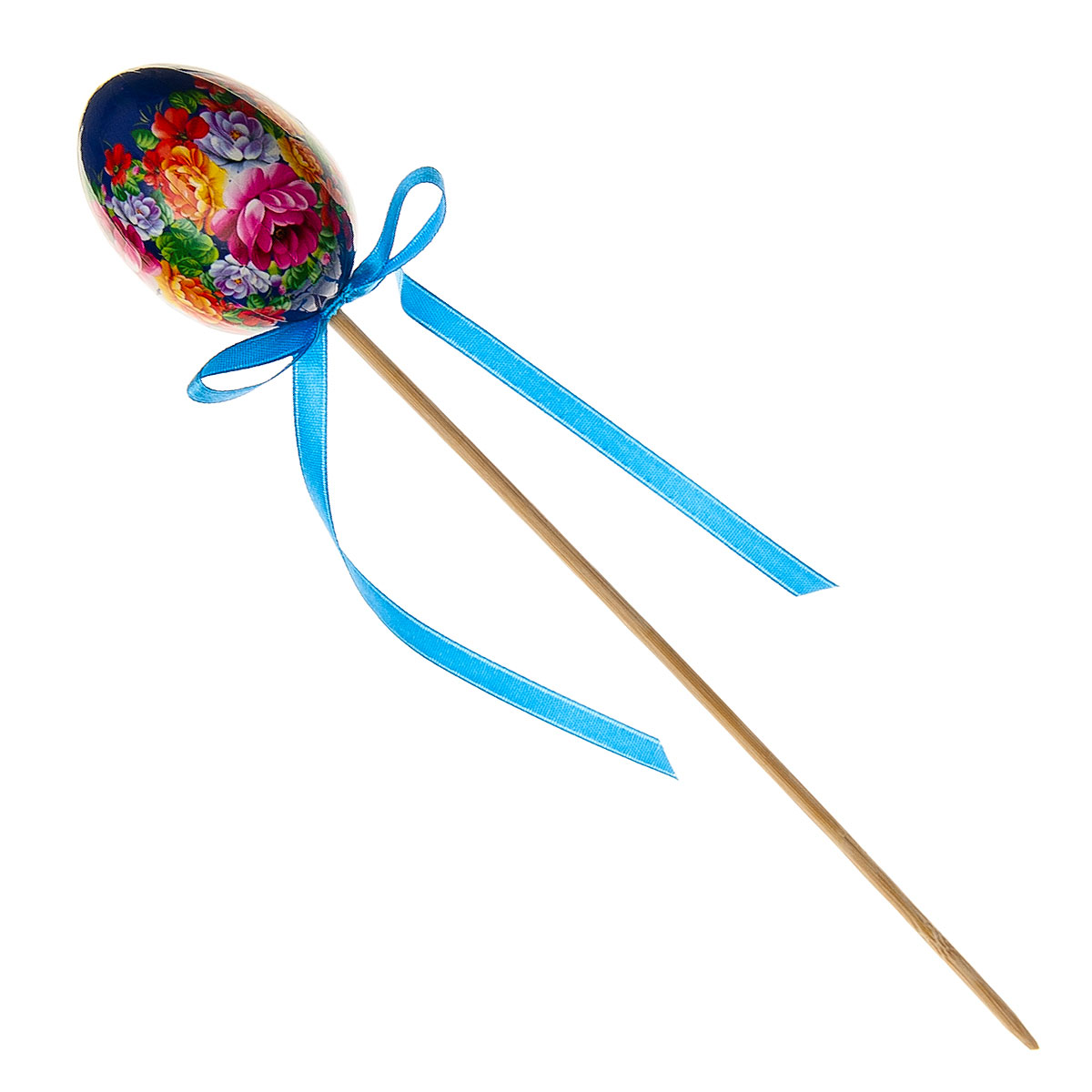 Декоративное украшение на ножке Home Queen Народное искусство, цвет: синий, высота 26 см68276_3Декоративное украшение Home Queen Народное искусство выполнено из пластика в виде пасхального яйца на деревянной ножке, декорированного цветочным орнаментом. Изделие украшено текстильной лентой. Такое украшение прекрасно дополнит подарок для друзей или близких. Высота: 26 см. Размер яйца: 6 см х 4,5 см.