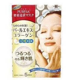 Utena Маска Puresa с экстрактом жемчуга и коллагеном для придания коже лица здорового блеска, 5шт.х15 мл.