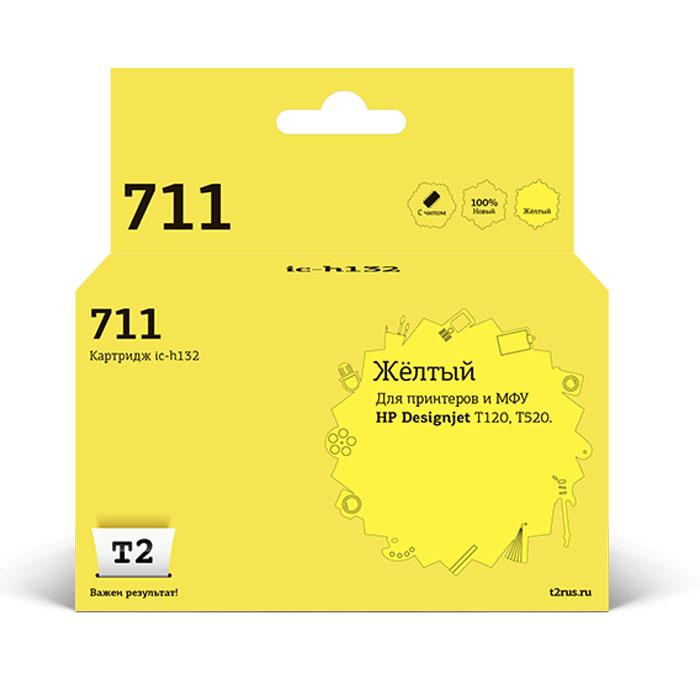 T2 IC-H132 картридж для HP Designjet T120/520 (711), YellowIC-H132Чернильный картридж с чипом T2 предназначен для струйных широкоформатных принтеров HP. Картридж собран из японских комплектующих и протестирован по стандарту STMC.