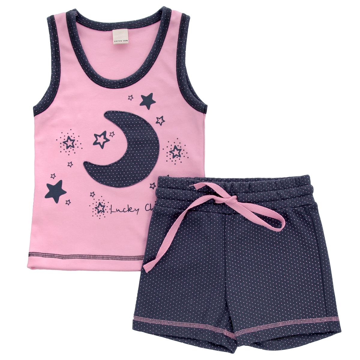 Комплект для девочки Lucky Child: майка, шорты, цвет: серо-фиолетовый, розовый. 12-411. Размер 128/134