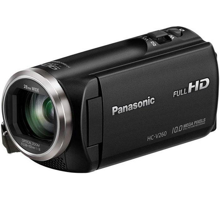 Panasonic HC-V260, Black цифровая видеокамераHC-V260EE-KИнтеллектуальный 90-кратный зум позволяет четко сфокусировать камеру на удаленных объектах. А функция выравнивания изображения и 5-осевая система определения дрожания рук сохраняют естественную красоту изображения. Используйте режим широкоугольной съемки 28 мм для создания групповых и пейзажных снимков отличного качества.Интеллектуальный 90-кратный зум/оптический 50-кратный зум:Камера оснащена интеллектуальным 90-кратным зумом и оптическим 50-кратным зумом. Эта модель позволяет без труда снимать объекты, которые находятся так далеко, что с помощью обычных функций увеличения их не удалось бы снять с высокой четкостью.Функция выравнивания изображения:Функция выравнивания изображения автоматически определяет и исправляет наклон сделанных снимков. Можно выбрать один из трех уровней (ВЫКЛ, обычный сильный) в зависимости от условий съемки5-осевой HYBRID O.I.S. +:HYBRID O.I.S. + использует пяти осевую коррекцию для полного подавления размытия в снимках с применением самых разных настроек-от широкоугольной съемки до сильного увеличения. Это позволяет делать четкие, насыщенные снимки без размытия практически в любых условиях съемки.Сенсор BSI:Сенсор BSI позволяет получать яркое, высококачественное изображение с низким уровнем шума как при ярком, так и при недостаточном освещении. Он обеспечивает прекрасные результаты съемки в самых разных условиях, в том числе в помещении и в ночное время.Широкоугольный объектив, 28 мм:Благодаря широкоугольному объективу 28 мм теперь в кадр помещается больше людей и фона. Это особенно удобно, когда требуется сделать групповой снимок в небольшом помещении. В кадр помещаются все объекты съемки даже с очень близкого расстояния, благодаря чему микрофон захватывает даже незаметные звуки.Творческий контроль:Эффекты фильтра («Эффект миниатюры». «Пленка (8 мм)», «Немое кино» и «Цейтраферная съемка») позволяют создавать захватывающие эпизоды в соответствии с условиями съемки.iA (интеллектуальный