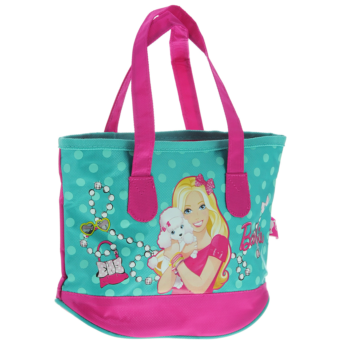 Сумка детская Barbie, цвет: бирюзовый, розовыйBRAP-UT-930Детская сумка Barbie выполнена из прочного полиэстера и оформлена термоаппликацией с изображением Барби, обнимающей белого пуделя. Сумочка содержит одно отделение и закрывается на застежку-молнию.Сумочка оснащена двумя ручками для переноски.Рекомендуемый возраст: от 3 лет.