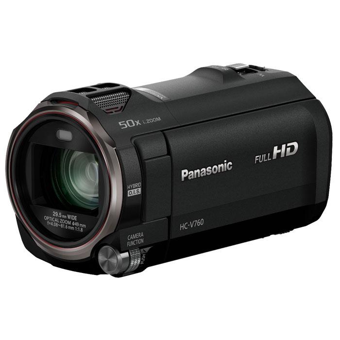 Panasonic HC-V760, Black цифровая видеокамераHC-V760EE-KСохраняйте семейные воспоминания в отличном качестве с использованием простого зума. Используйте первую в мире технологию «Фильм HDR» (расширенный динамический диапазон) для получения четких деталей даже в сложных условиях сьемки. Оцените неизменно ровные, не размытые изображения.Превосходное качество изображения с улучшенным объективом, сенсором и процессором:Система линз объектива управляет каждой из четырех групп линз отдельно, благодаря чему уменьшаются диапазоны привода обеспечивается высококачественное изображение, мощное увеличение, а также компактность корпуса камеры. Вместе с этим используются сенсор BSI на 6.03 мегапикселя, а также высокоскоростной процессор Crystal Engine, которые позволяют получать четкое, насыщенное изображение.Фильмы HDR (широкий динамический диапазон) -V:Четкие снимки с превосходной детализацией как в освещенных, так и в темных областяхОбъединяя два изображения, сделанные с разным временем экспозиции, функция «Фильм HDR» подавляет чрезмерно освещенные или затемненные участки, чтобы обеспечить более четкое и насыщенное видеоизображение. Это первая в мире видеокамера потребительского уровня, оснащенная функцией «Фильм HDR». Даже в сложных условиях съемки, например при освещении сзади, можно легко проводить съемку в естественных условиях с отличной градацией тонов.Функция выравнивания изображения:Функция выравнивания изображения автоматически определяет и исправляет наклон сделанных снимков. Можно выбрать один из трех уровней (ВЫКЛ. обычный сильный) в зависимости от условий съемки5-осевой HYBRID O.I.S. +:HYBRID O.I.S. + использует пяти осевую коррекцию для полного подавления размытия в снимках с применением самых разных настроек-от широкоугольной съемки до сильного увеличения. Это позволяет делать четкие, насыщенные снимки без размытия практически в любых условиях съемки.20-кратный оптический зум с 4-приводной системой линз:Благодаря отдельному приводу для каждой из четырех групп ли