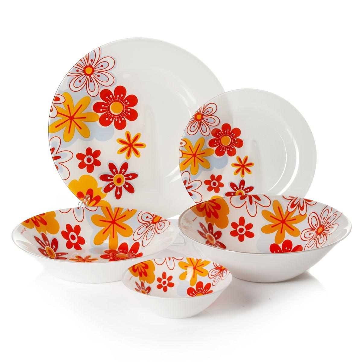 Набор посуды Pasabahce Workshop Summer, цвет: белый, оранжевый, голубой, 25 предметов95665BDНабор посуды Pasabahce Summer изготовлен из натрий-кальций-силикатного стекла. Предметы набора оформлены изящным цветочным рисунком. В набор входят: 6 тарелок диаметром 19,5 см, 6 тарелок диаметром 26 см, 6 тарелок диаметром 22 см, 6 салатников диаметром 14 см, салатник диаметром 23 см. Набор создаст отличное настроение во время обеда, будет уместен на любой кухне и понравится каждой хозяйке. Практичный и современный дизайн делает набор довольно простым и удобным в эксплуатации. Изделия можно мыть в посудомоечной машине.Количество тарелок: 18 шт.Диаметры тарелок: 19,5 см (6 шт), 22 см (6 шт), 26 см (6 шт).Высота стенок тарелок: 1,5 см, 4,5 см, 2 см.Количество салатников: 7 шт.Диаметры салатников: 14 см (6 шт), 23 см (1 шт). Высота стенок салатников: 4,5 см, 6,5 см.