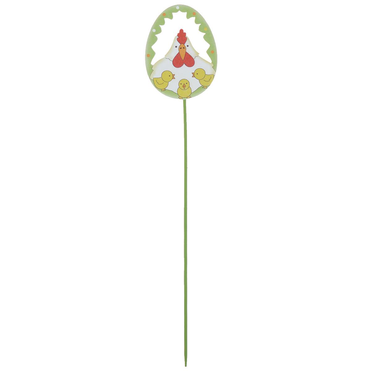 Декоративное украшение на ножке Home Queen Веселье. Курица, цвет: белый, зеленый, высота 26,5 см66765_3Украшение пасхальное Home Queen Веселье. Курица изготовлено из дерева и предназначено для декорирования праздничного стола. Изделие выполнено в виде яйца на деревянной шпажке с перфорацией в виде курицы. Такое украшение прекрасно дополнит подарок для друзей и близких на Пасху. Высота: 26,5 см. Размер яйца: 6,5 см х 5 см х 0,5 см.