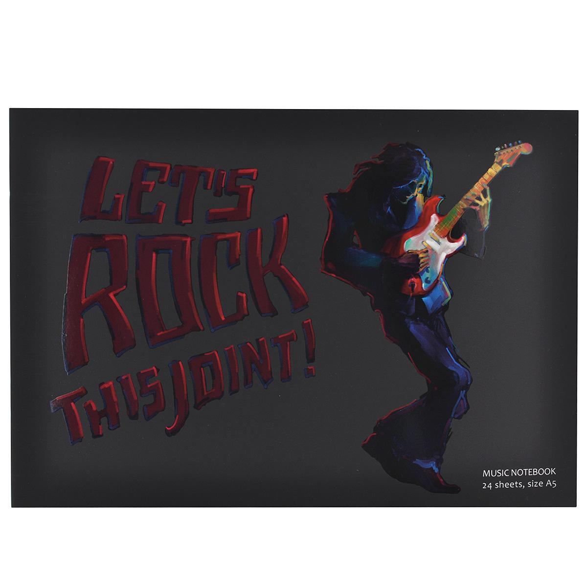 Тетрадь для нот Гитарист, 24 листа. Формат А5ЦБ010876Тетрадь для нот Гитарист - отличный помощник в обучении музыке. Обложка выполнена из картона черного цвета и оформлена изображением гитариста и надписью Lets Rock This Joint. Внутренний блок включает 24 листа с нотными станами.