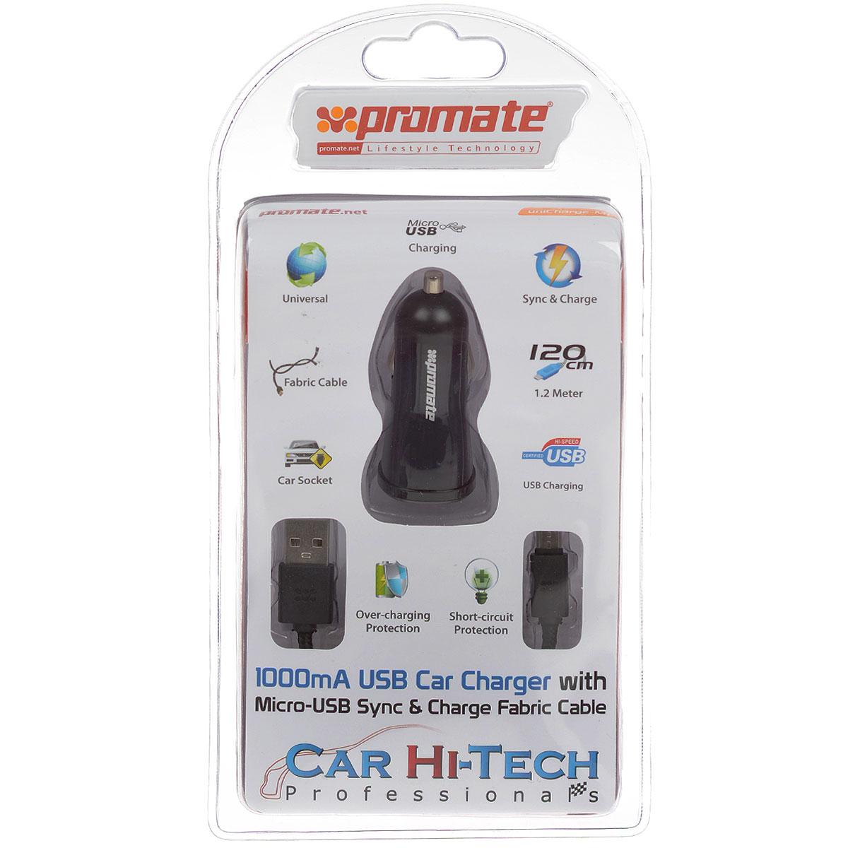 Устройство зарядное Promate uniCharge-M1, с кабелем00007504Promate uniCharge-M1 представляет собой комплект из зарядного устройства с 1А USB портом и кабеля с разъемом USB и Micro-USB на противоположных концах. Оплетка кабеля выполнена из ткани и обладает повышенной термостойкостью и износостойкостью. Promate uniCharge-M1 является универсальным зарядным устройством для всех USB заряжаемых устройств с портом Micro-USB в вашем автомобиле.Сила тока: 1000 мА.Длина кабеля: 1,2 м.