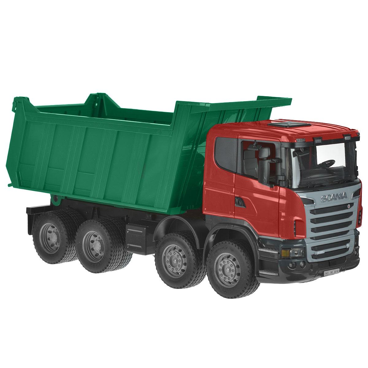 Bruder Самосвал Scania цвет зеленый красный bruder лесовоз scania