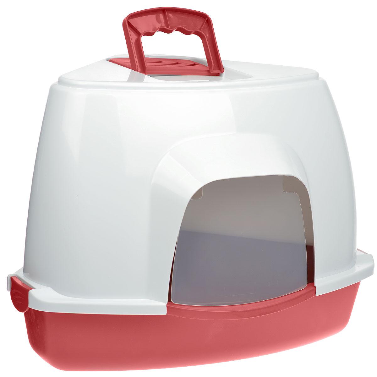 Туалет для кошек Fauna Kitty Luxer, цвет: красный, белый, 38 см х 38 см х 56 см54634 (8003)Закрытый угловой туалет для кошек Fauna Kitty Luxer выполнен из высококачественного пластика. Туалет довольно вместительный и напоминает домик. Он оснащен прозрачной открывающейся дверцей, сменным угольным фильтром и удобной ручкой для переноски. Такой туалет избавит ваш дом от неприятного запаха и разбросанных повсюду частичек наполнителя. Кошка в таком туалете будет чувствовать себя увереннее, ведь в этом укромном уголке ее никто не увидит. Кроме того, яркий дизайн с легкостью впишется в интерьер вашего дома. Туалет легко открывается для чистки благодаря практичным защелкам по бокам.
