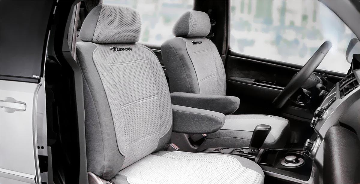 Авточехлы Autoprofi Transform, на 2 кресла и 2 подлокотника, цвет: темно-серый, светло-серый, 8 предметовMPV-001 D.GY/L.GYАвточехлы Autoprofi Transform разработаны специально для микроавтобусов, минивэнов и внедорожников. Данная серия чехлов включает 6 моделей различной комплектации, которые учитывают любые варианты расположения кресел в салоне. Благодаря этому и раздельной схеме надевания, чехлами можно оснастить как пяти-, так и семи- или восьмиместный автомобиль.Серия Transform изготавливается из износостойкого перфорированного велюра, придающего интерьеру автомобиля уютный и ухоженный вид. При необходимости чехлы легко снимаются и быстро сохнут после стирки.Комплектация:- 2 одинарные спинки,- 2 одинарных сиденья,- 2 подголовника,- 2 подлокотника.Особенности: - предустановленные крючки на широких резинках,- толщина поролона: 5 мм.
