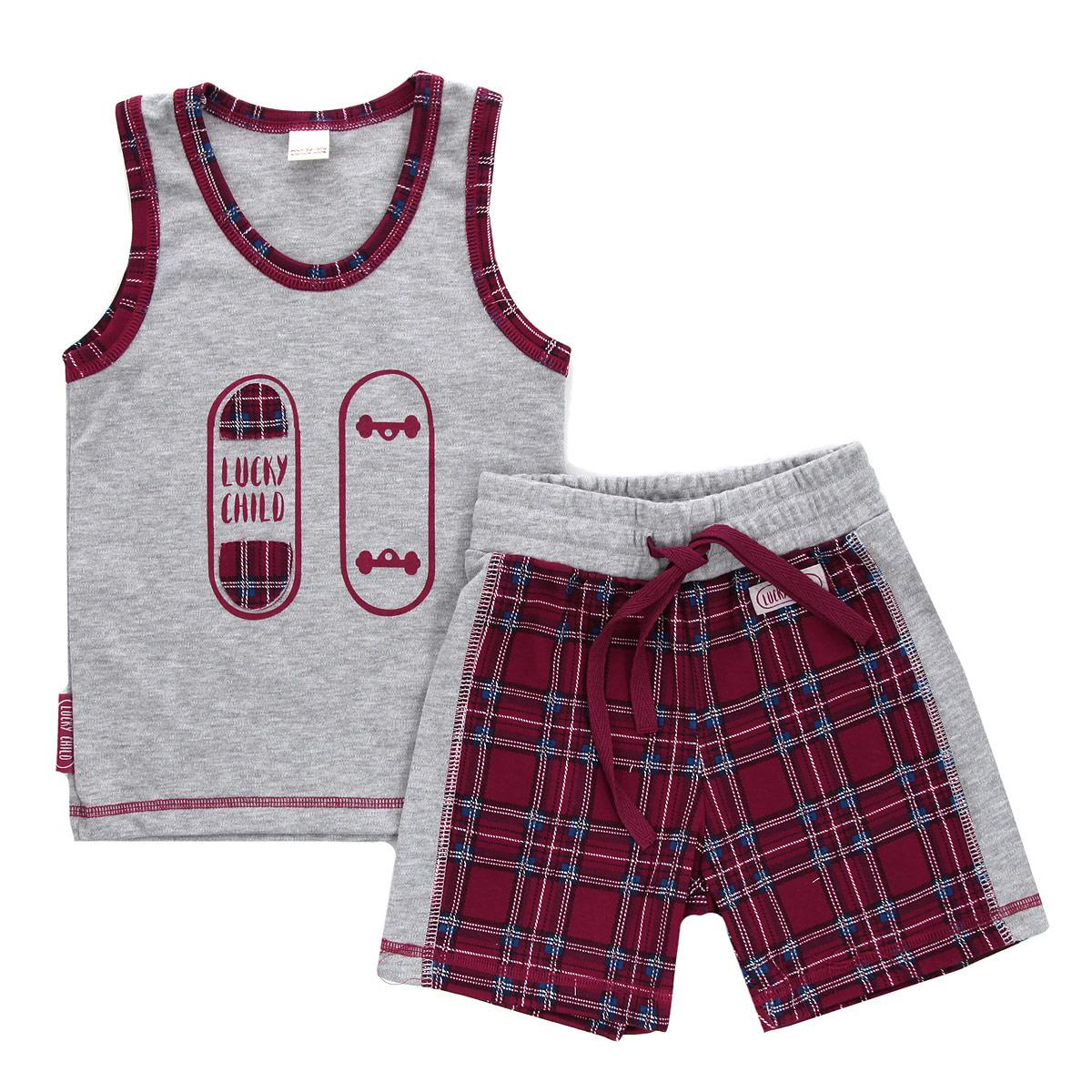Комплект для мальчика Lucky Child: майка, шорты, цвет: красный, серый. 13-410. Размер 86/92