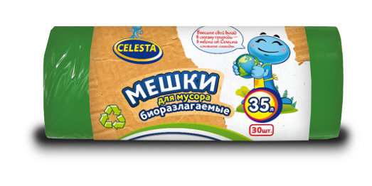 """Мешки для мусора """"Celesta"""", биоразлагаемые, цвет: зеленый, 35 л, 30 шт"""