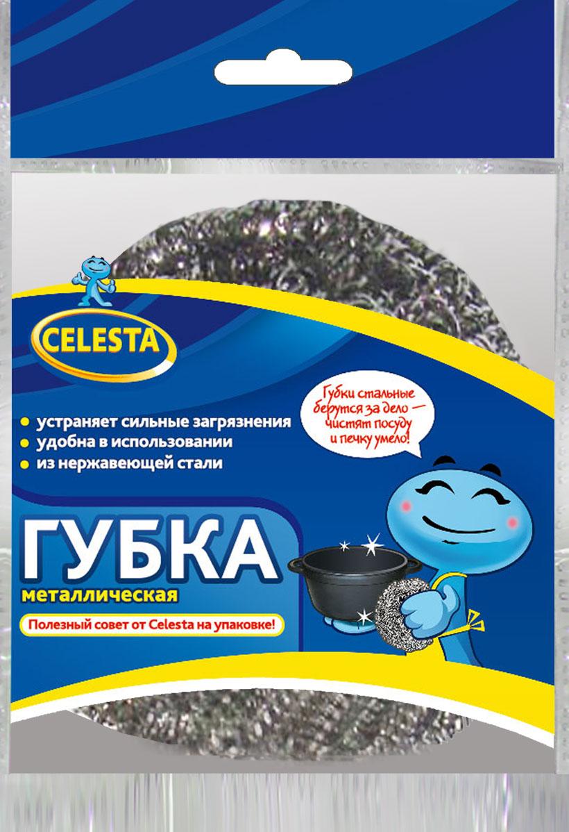 Губка для мытья посуды Celesta, металлическая губка мытья для посуды paclan стандарт 10 шт